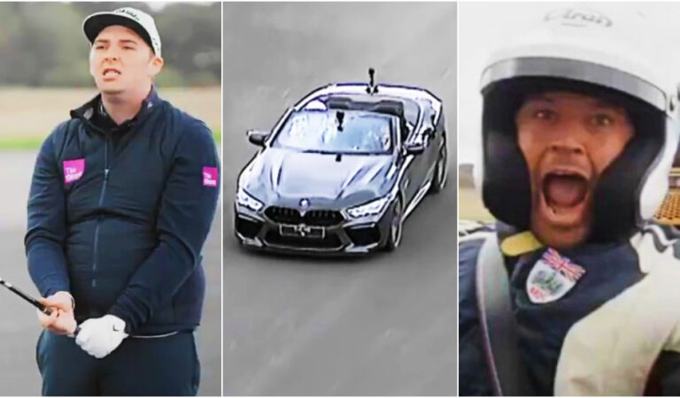 'Unbelievable scenes': Pro golfer and racing driver break world record with 303-yard shot into a car moving at 143mph (VIDEO)